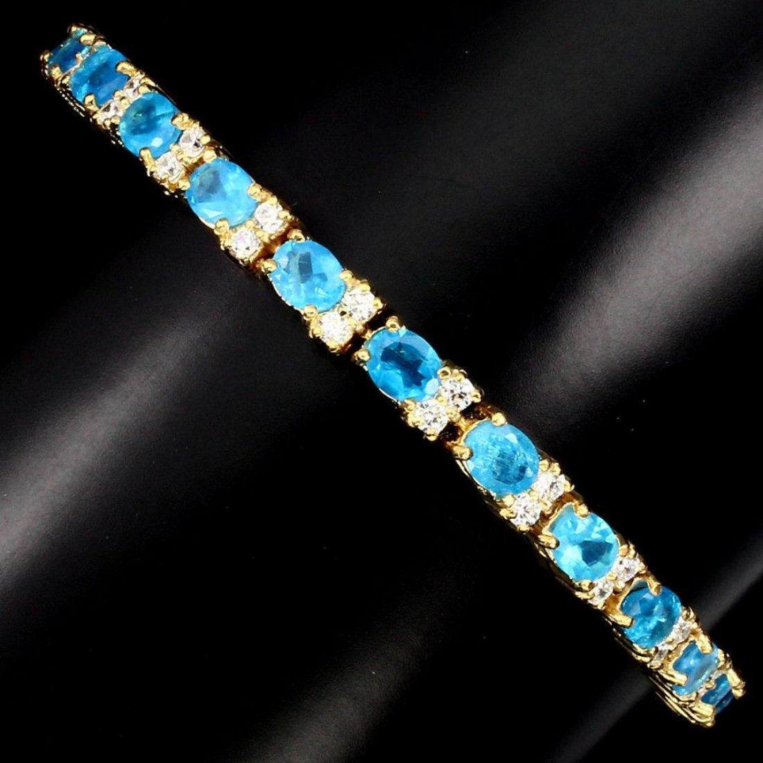 Natural  AAA Neon Blue Apatite 66.47 Ct Bracelet