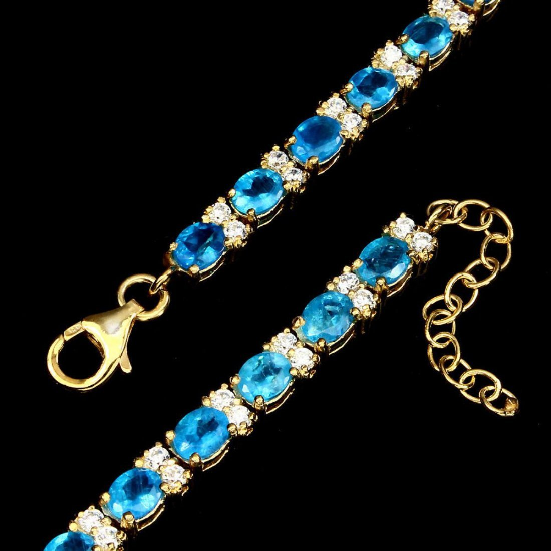 Natural  AAA Neon Blue Apatite 66.47 Ct Bracelet - 3