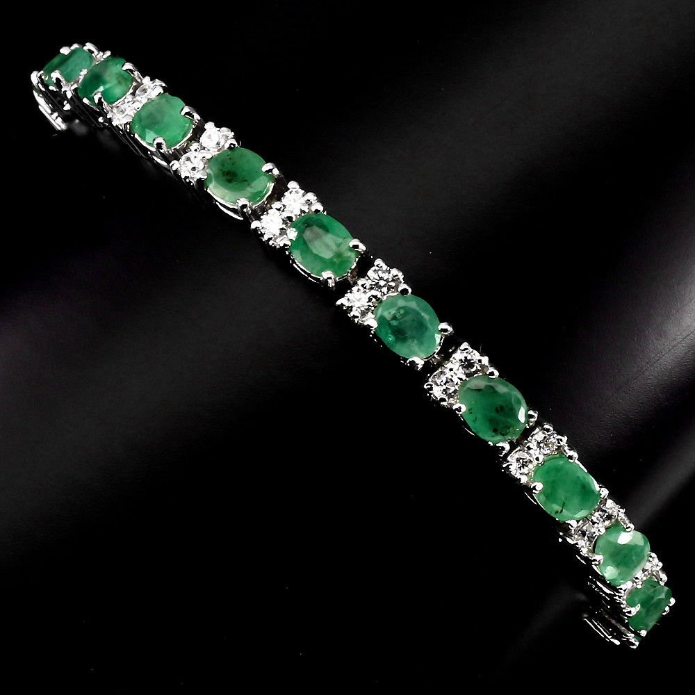 Natural Top Rich Green Emerald 50.06 Ct Bracelet