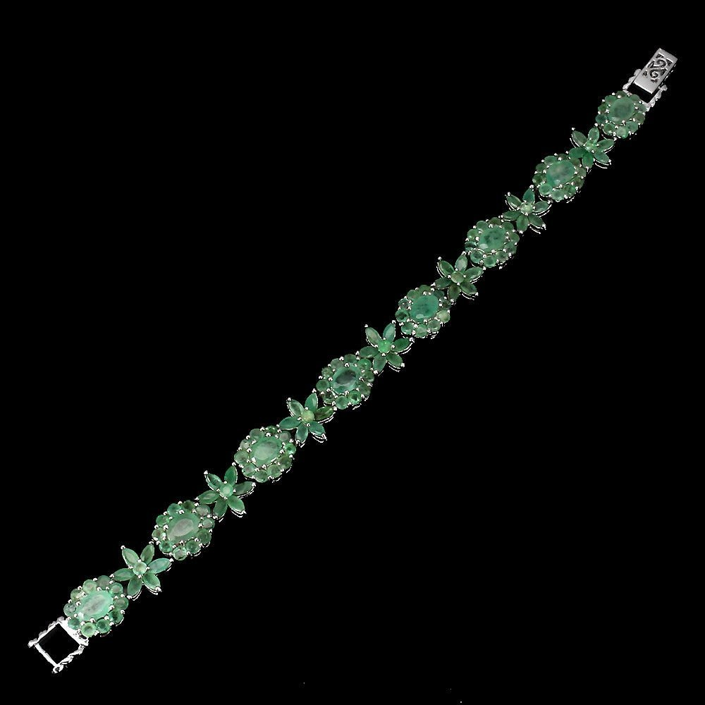 Natural Top Rich Green Emerald 114.34 Ct Bracelet - 2