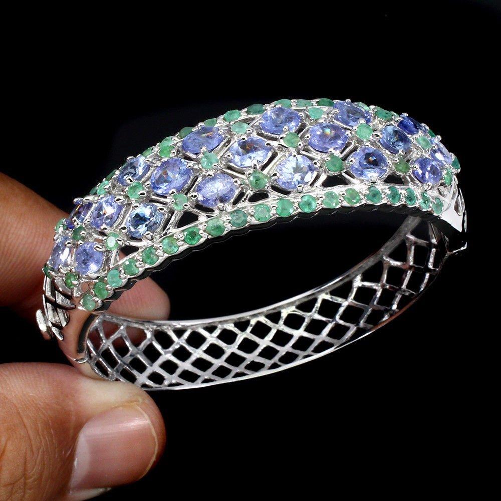 Natural Blue Violet Tanzanite & Emerald Bangle - 2