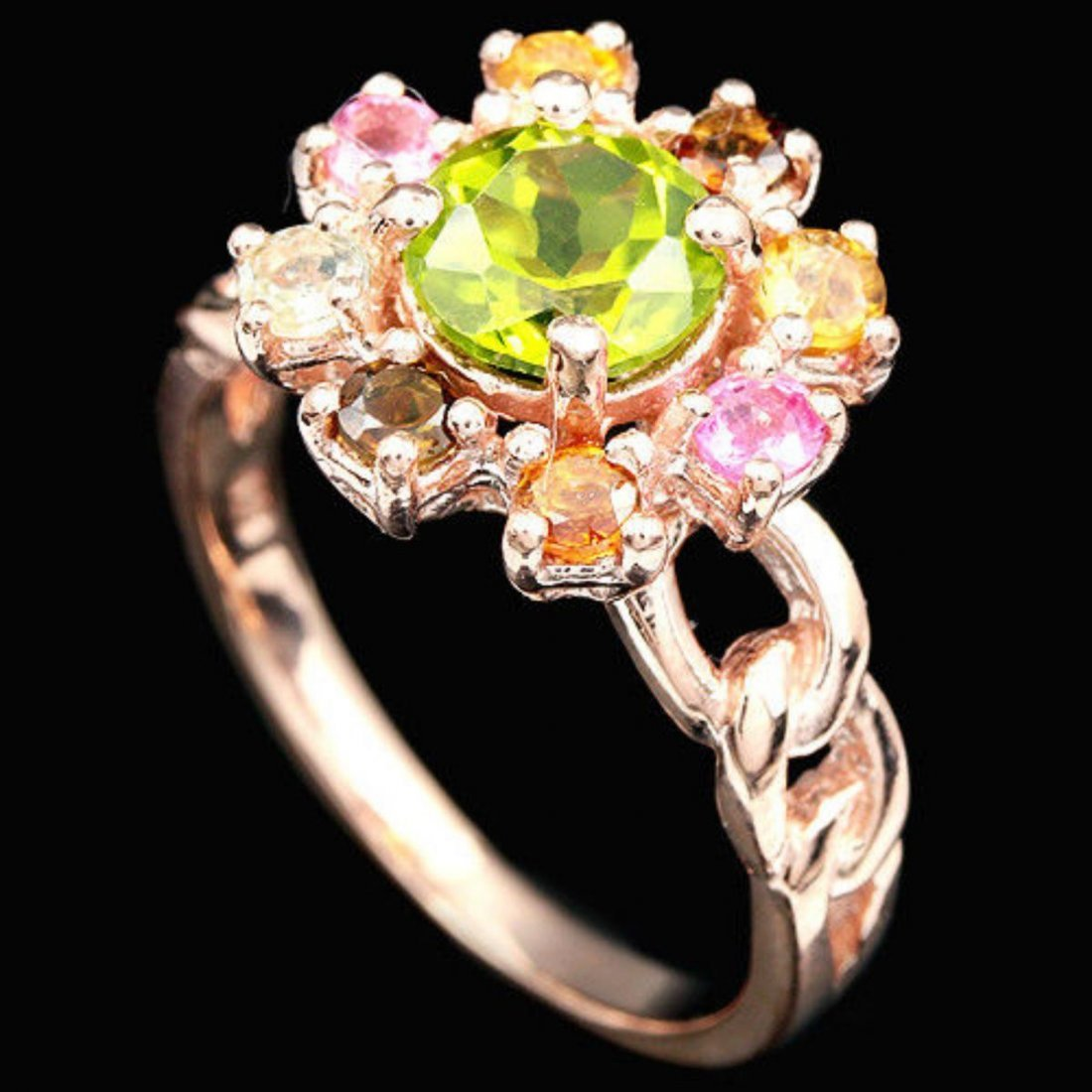 NATURAL PERIDOT & MULTI COLOR TOURMALINE Ring - 2