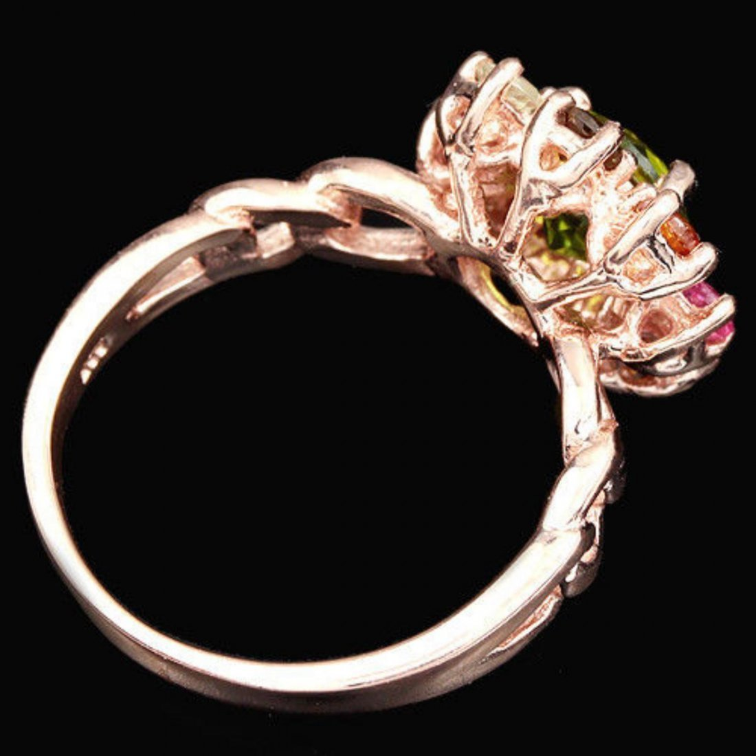NATURAL PERIDOT & MULTI COLOR TOURMALINE Ring - 3