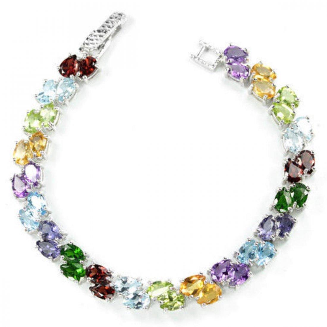 Natural TOPAZ AMETHYST CITRINE PERIDOT IOLITE Bracelet