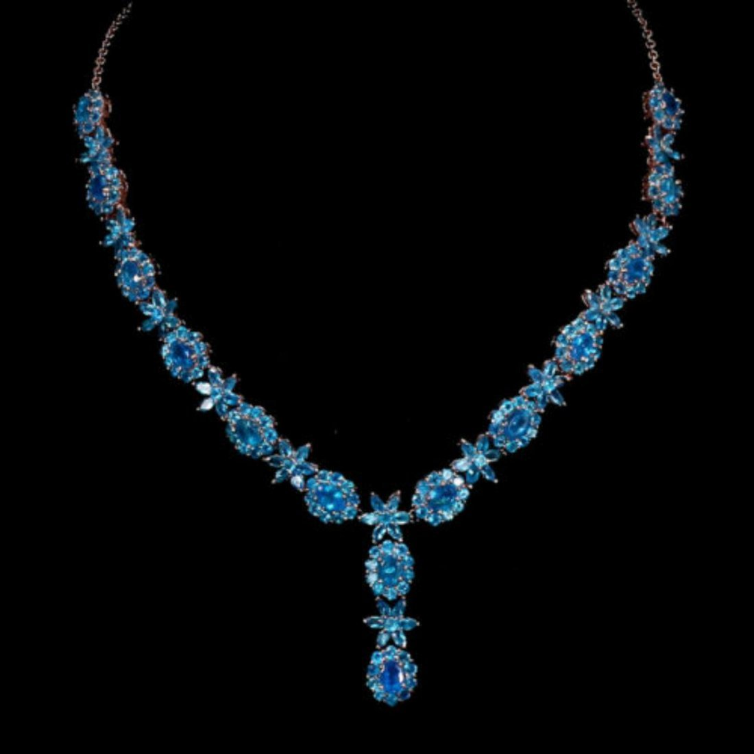 Natural Rare AAA Neon Blue Apatite 194 Cts Necklace