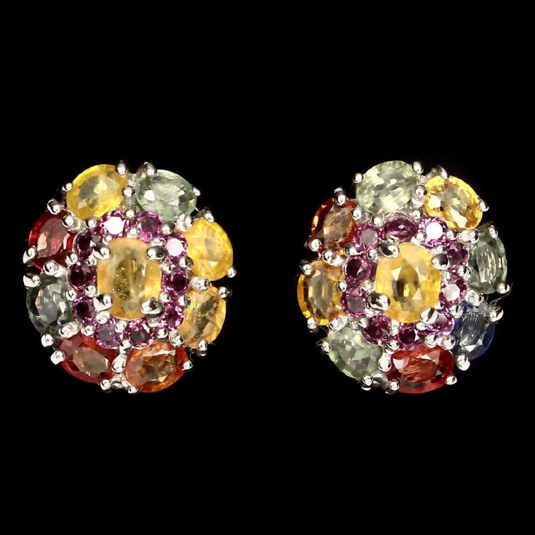 Natural  Fancy Color Sapphire & Garnet Earrings