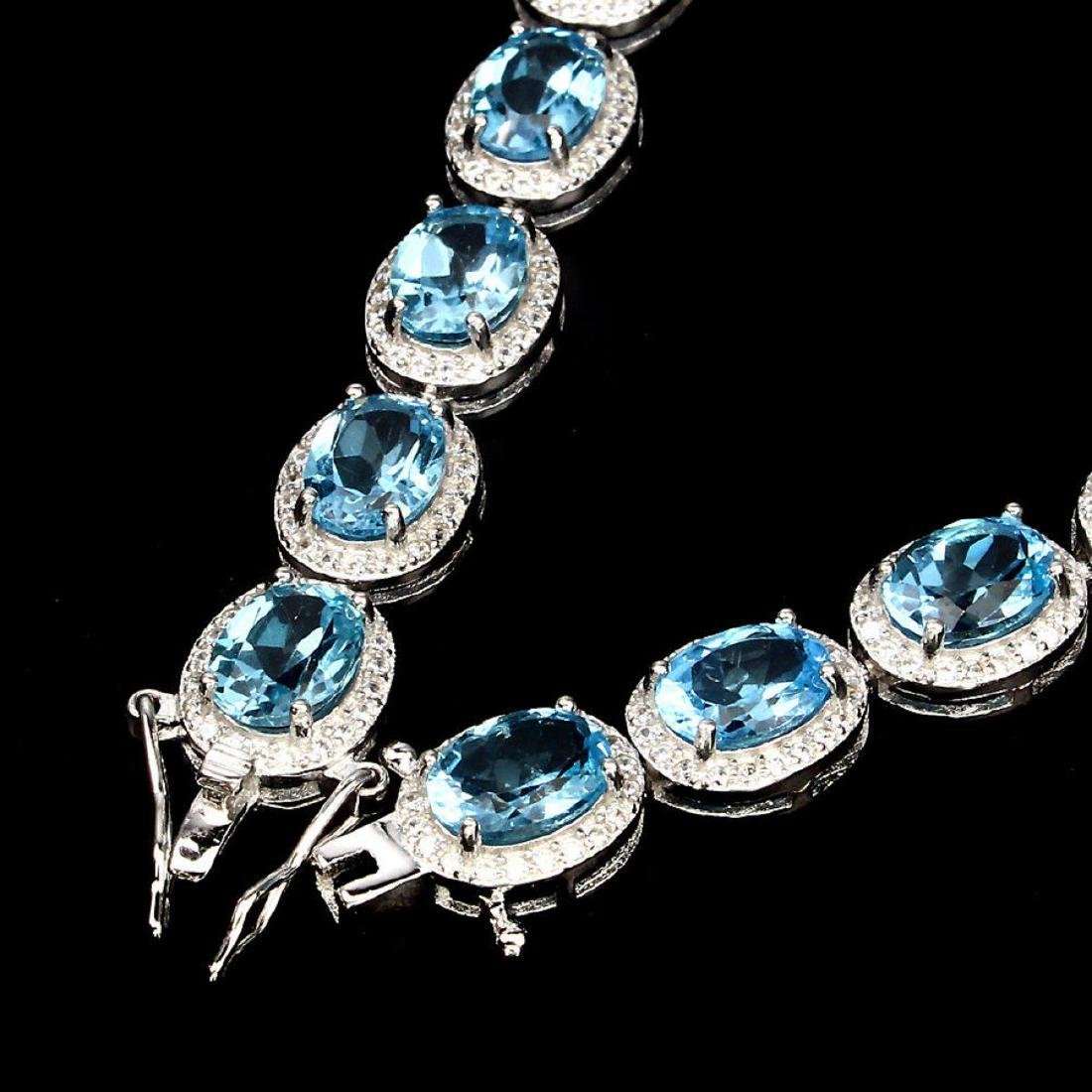 Natural Oval 8x6mm Swiss Blue Topaz Bracelet - 3