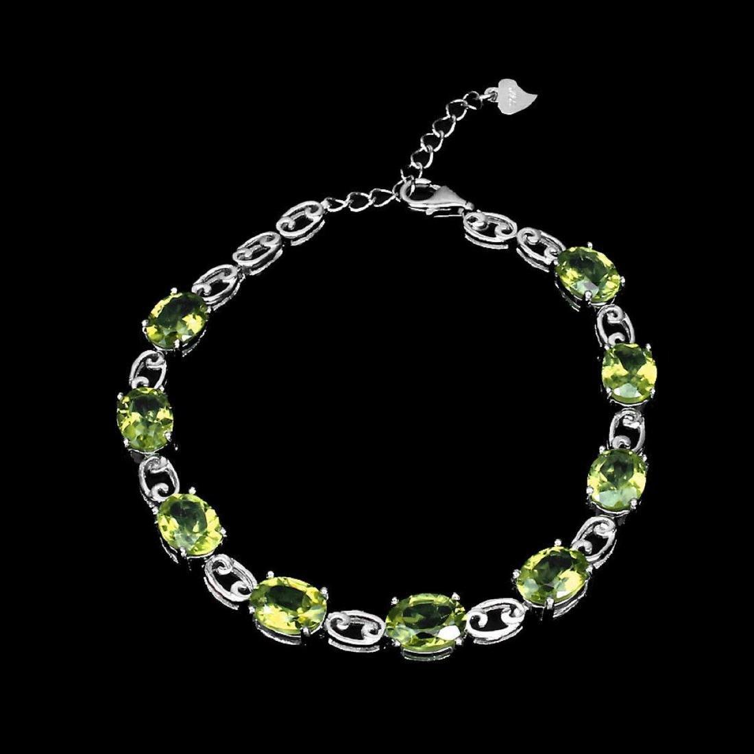 Natural  8x6mm Top Rich Green Peridot Bracelet - 2