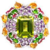 Natural  PERIDOT RUBY CHROME CITRINE AMETHYST Ring