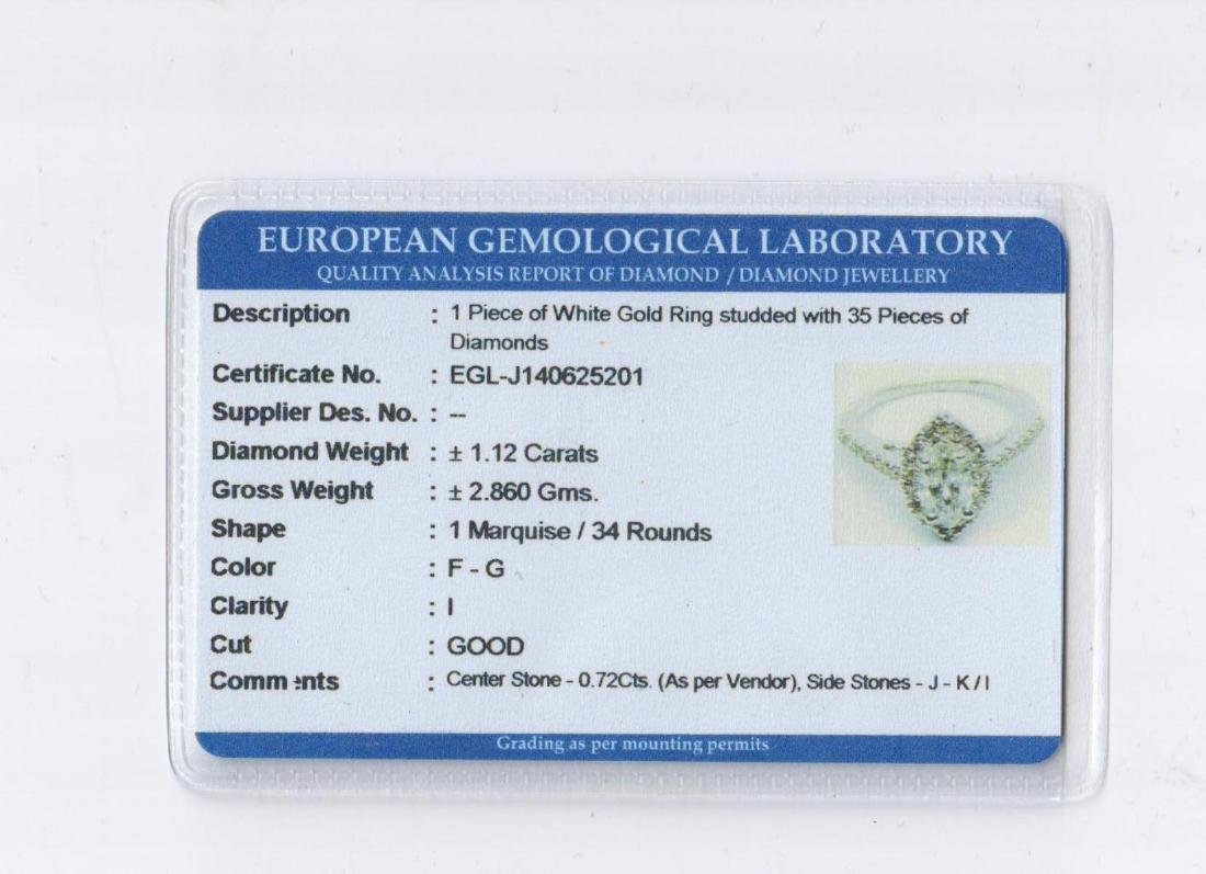 Diamond F/I 1.12 carats & Solid Gold Ring -EGL - 2