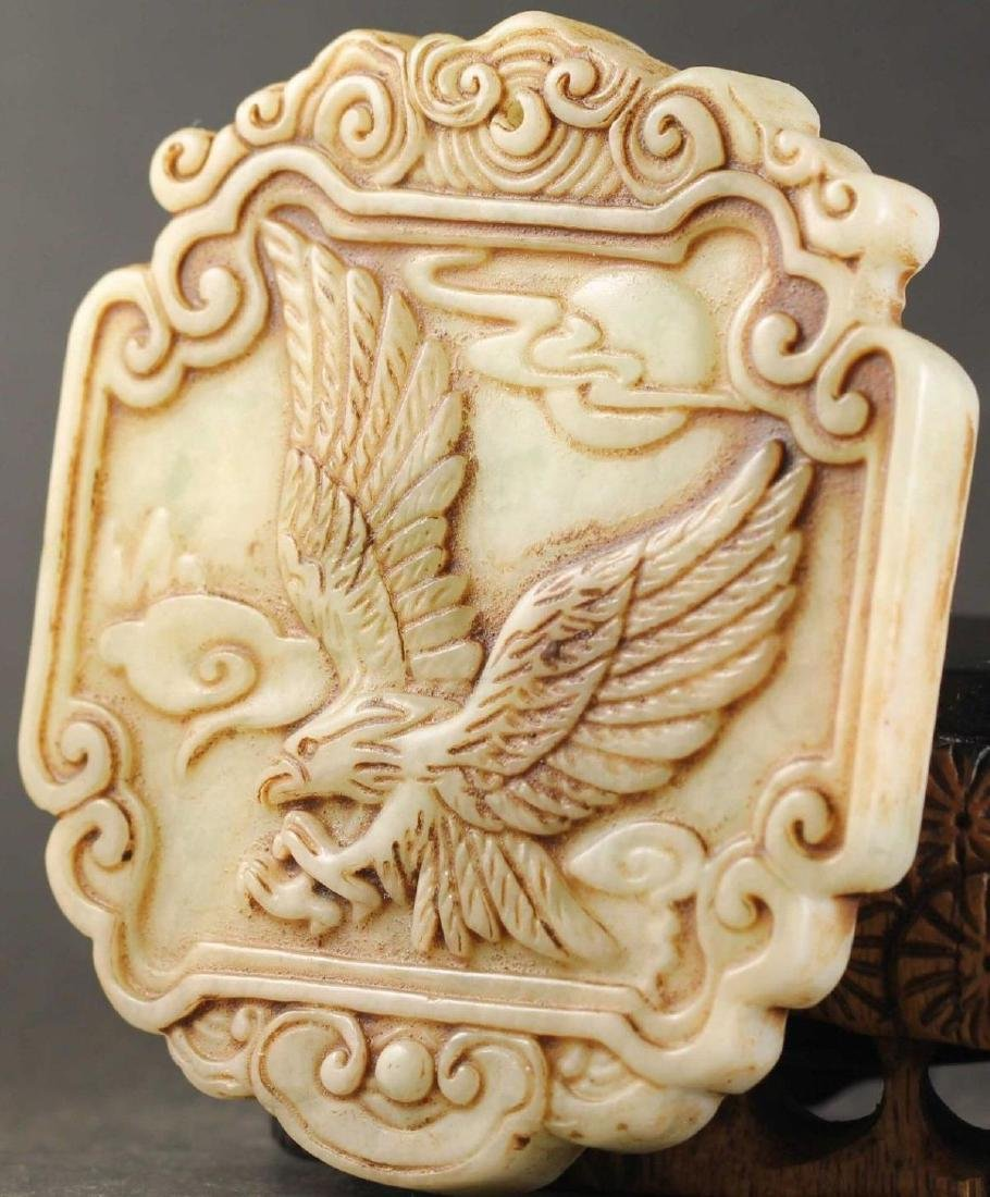 Antique Chinese Jade Hand Carved Eagle Pendant - 2