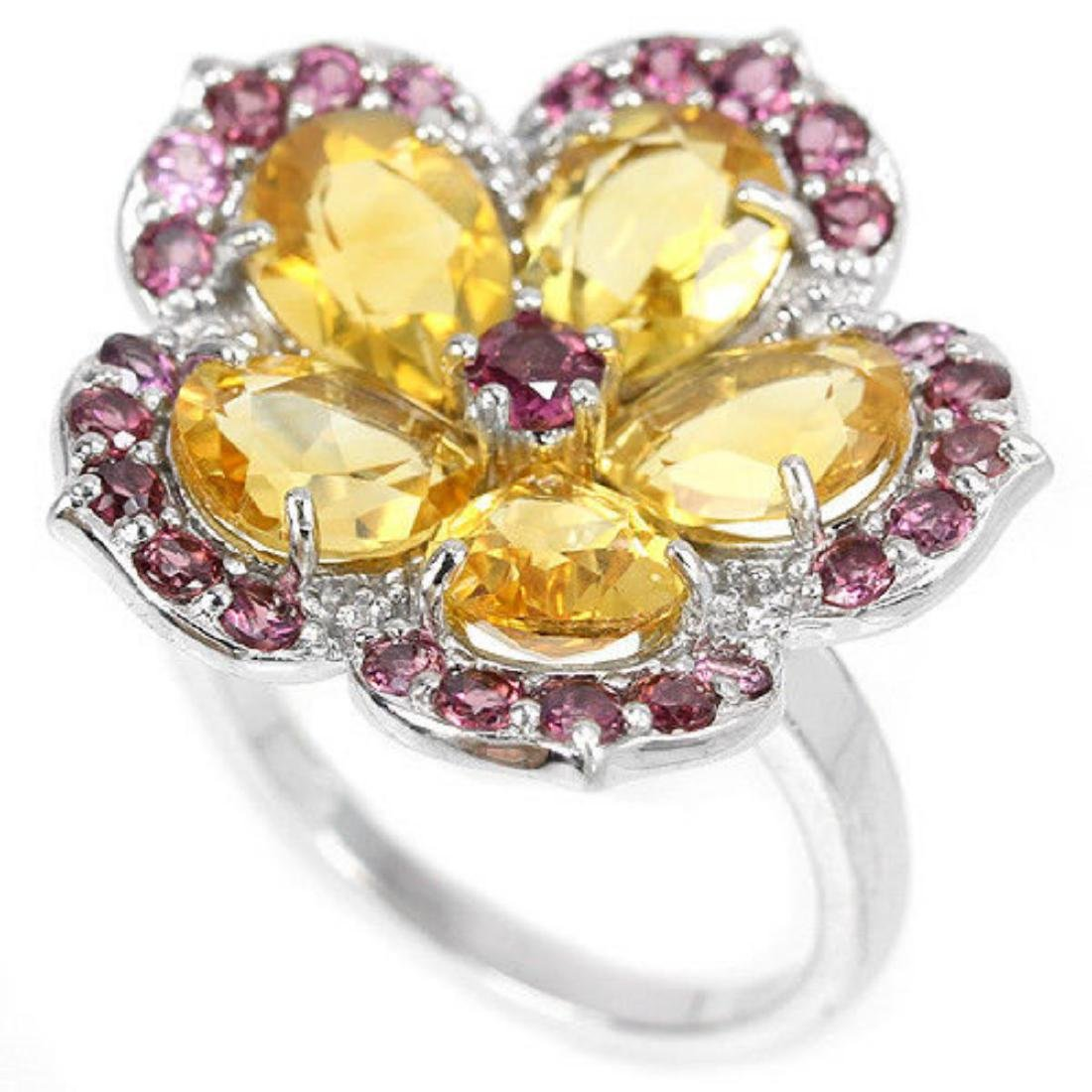 NATURAL CITRINE & RHODOLITE GARNET Flower Ring - 2