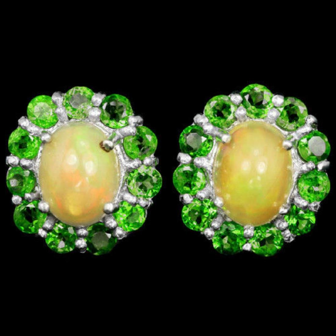 NATURAL OPAL & TSAVORITE GARNET Earrings