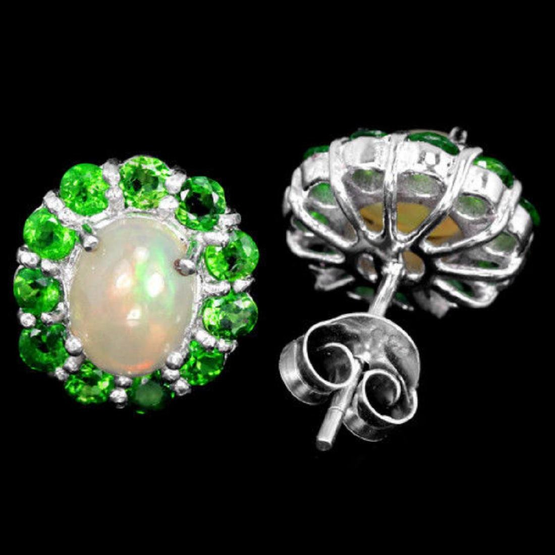 NATURAL OPAL & TSAVORITE GARNET Earrings - 2