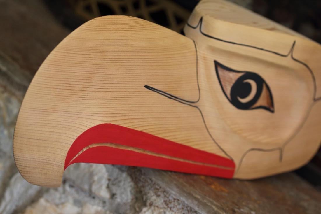 West Coast Native Hand Carved 3D Eagle Head Mask - 6