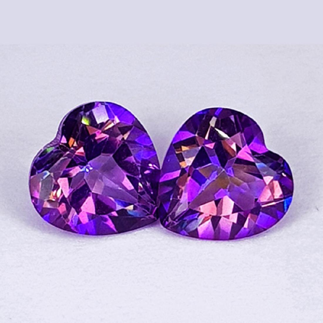 Natural Pinkish Purple Mystic Topaz Heart Pair