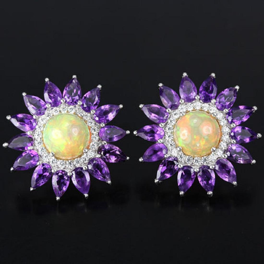 NATURAL RAINBOW OPAL, PURPLE AMETHYST TOPAZ Earrings