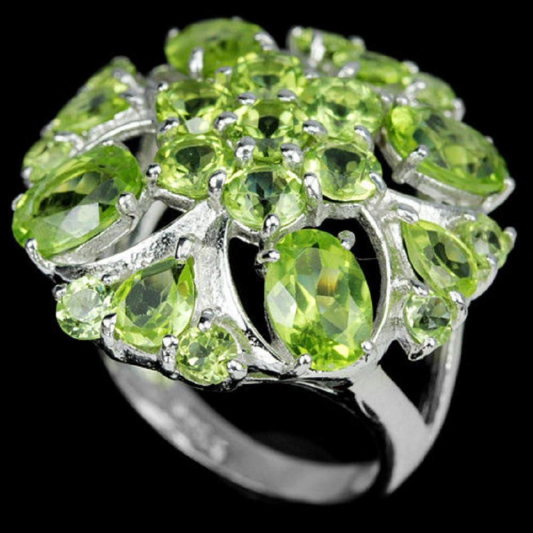 NATURAL APPLE GREEN PERIDOT FLOWER RING - 3