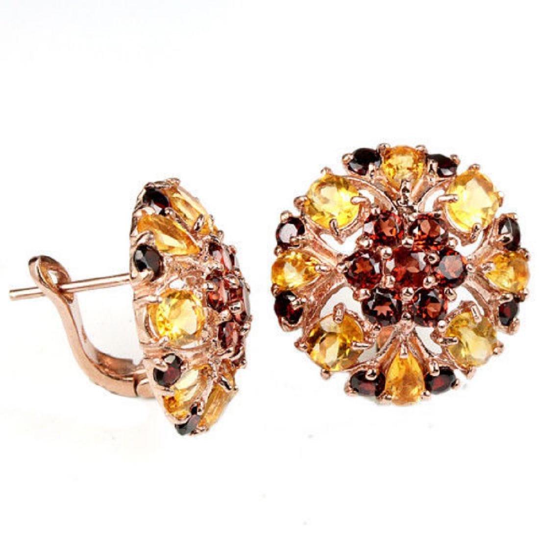 NATURAL AAA DARK ORANGE RED GARNET CITRINE Earrings - 2