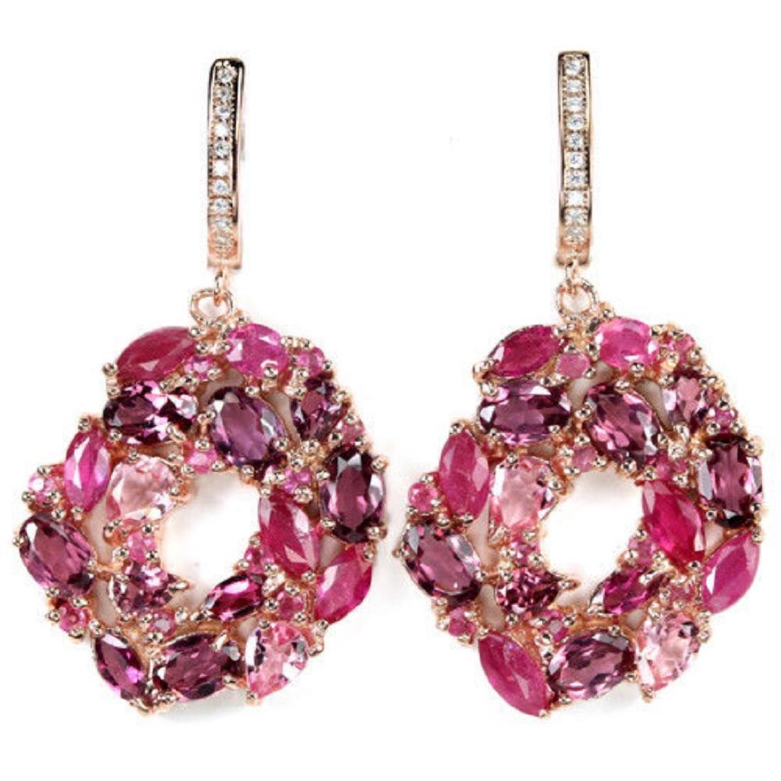 Natural RHODOLITE GARNET RUBY TOURMALINE Earrings