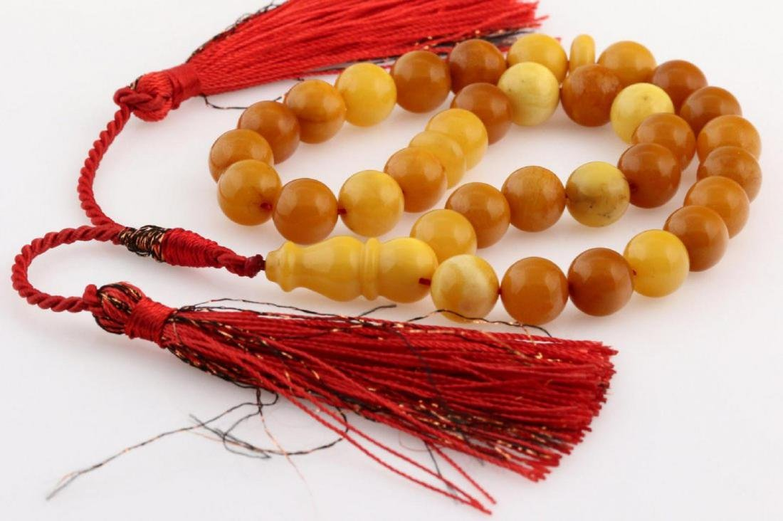 Natural Amber Islamic Prayer 33 Beads Tasbih - 2