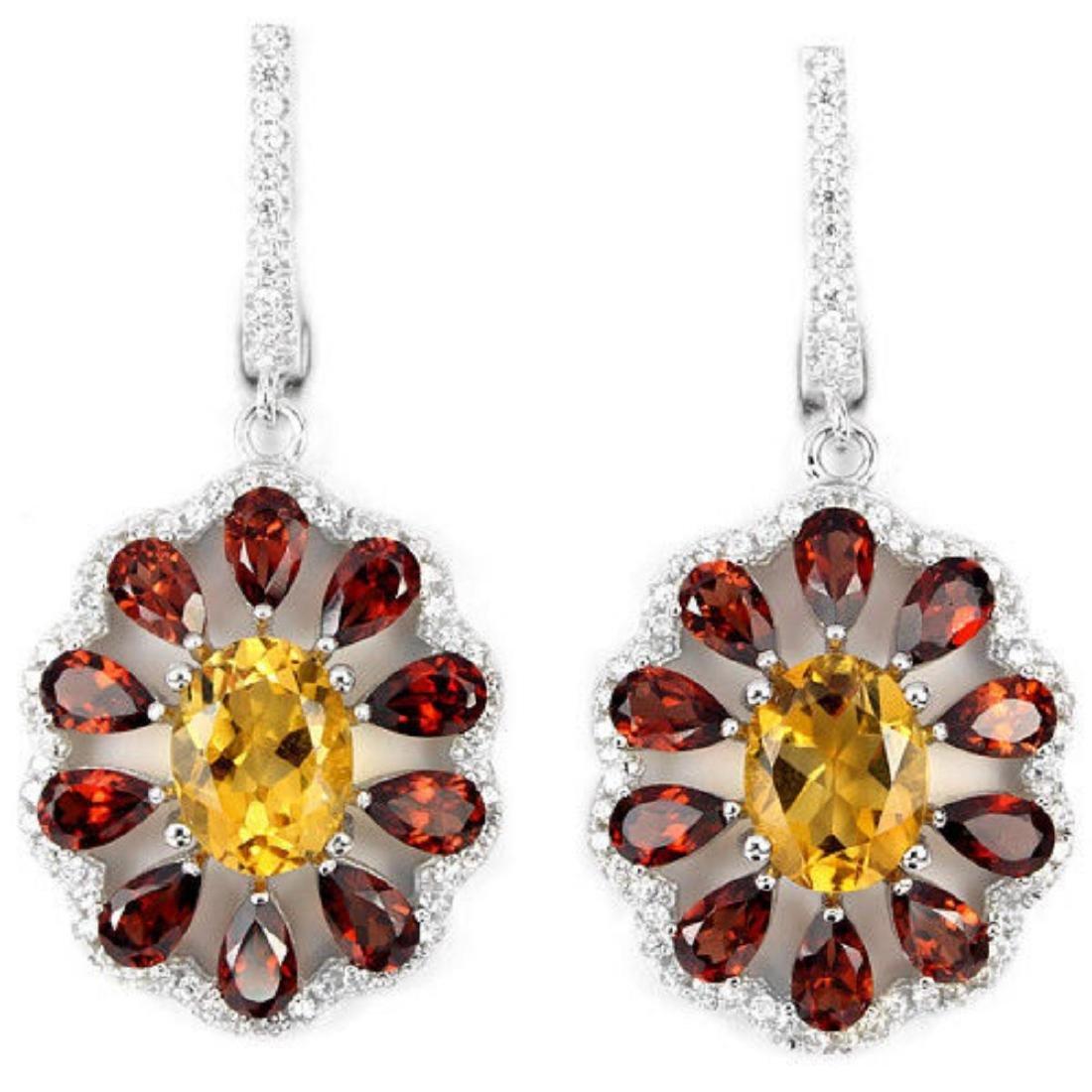 NATURAL ORANGISH YELLOW CITRINE, GARNET Earrings