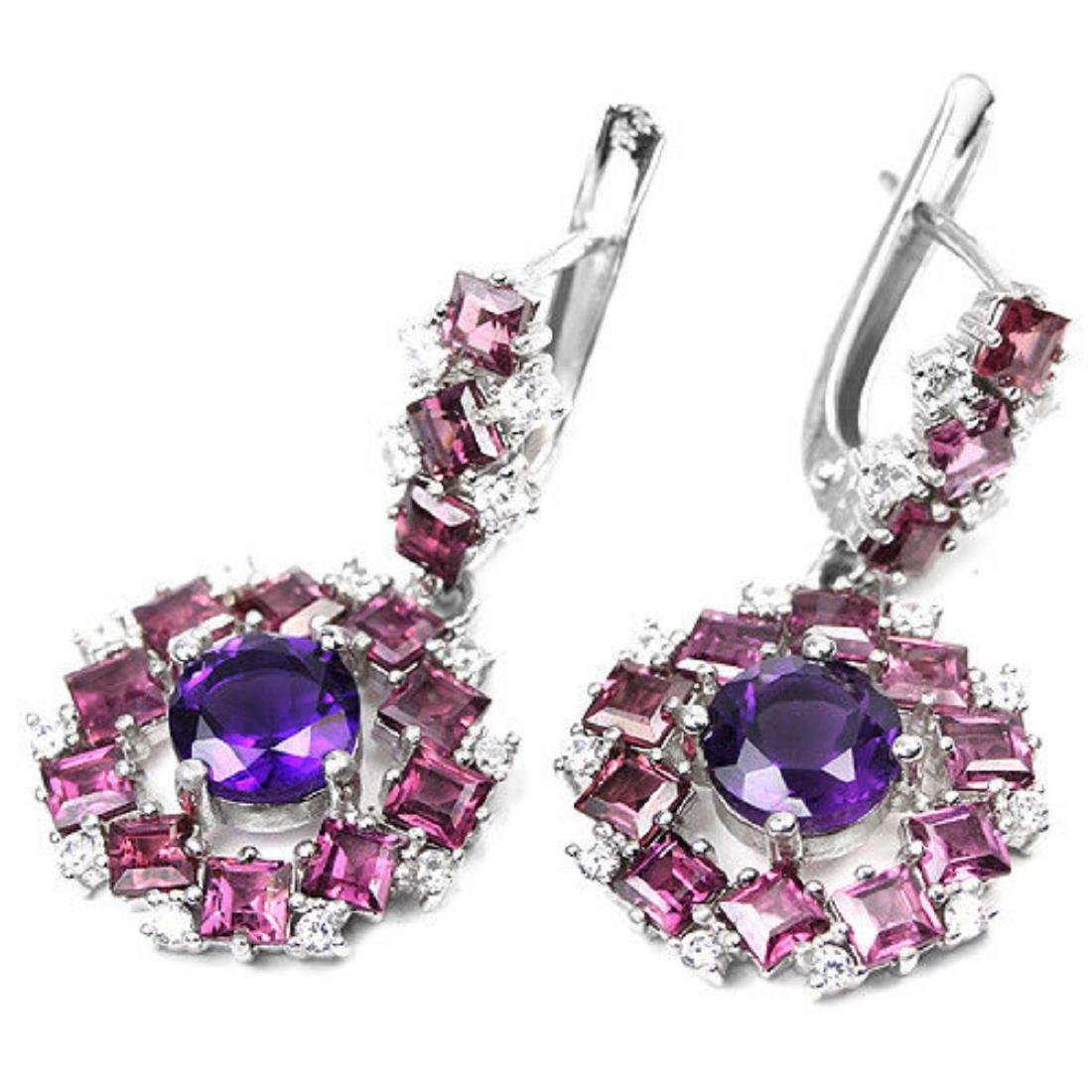 NATURAL AMETHYST, RHODOLITE GARNET Earrings - 2