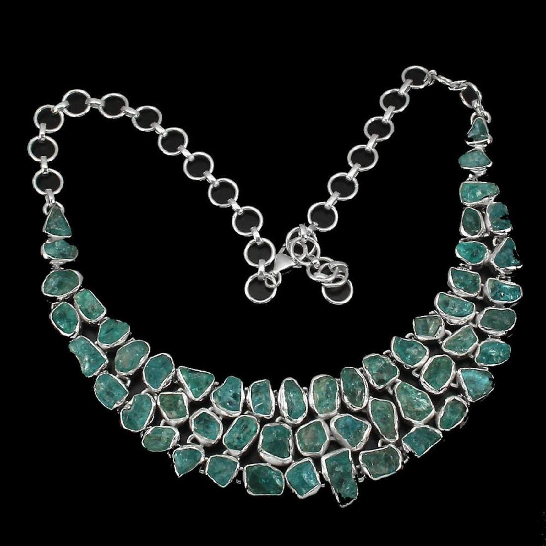 Natural Neon Blue Apatite Rough 367 Cts Necklace - 3