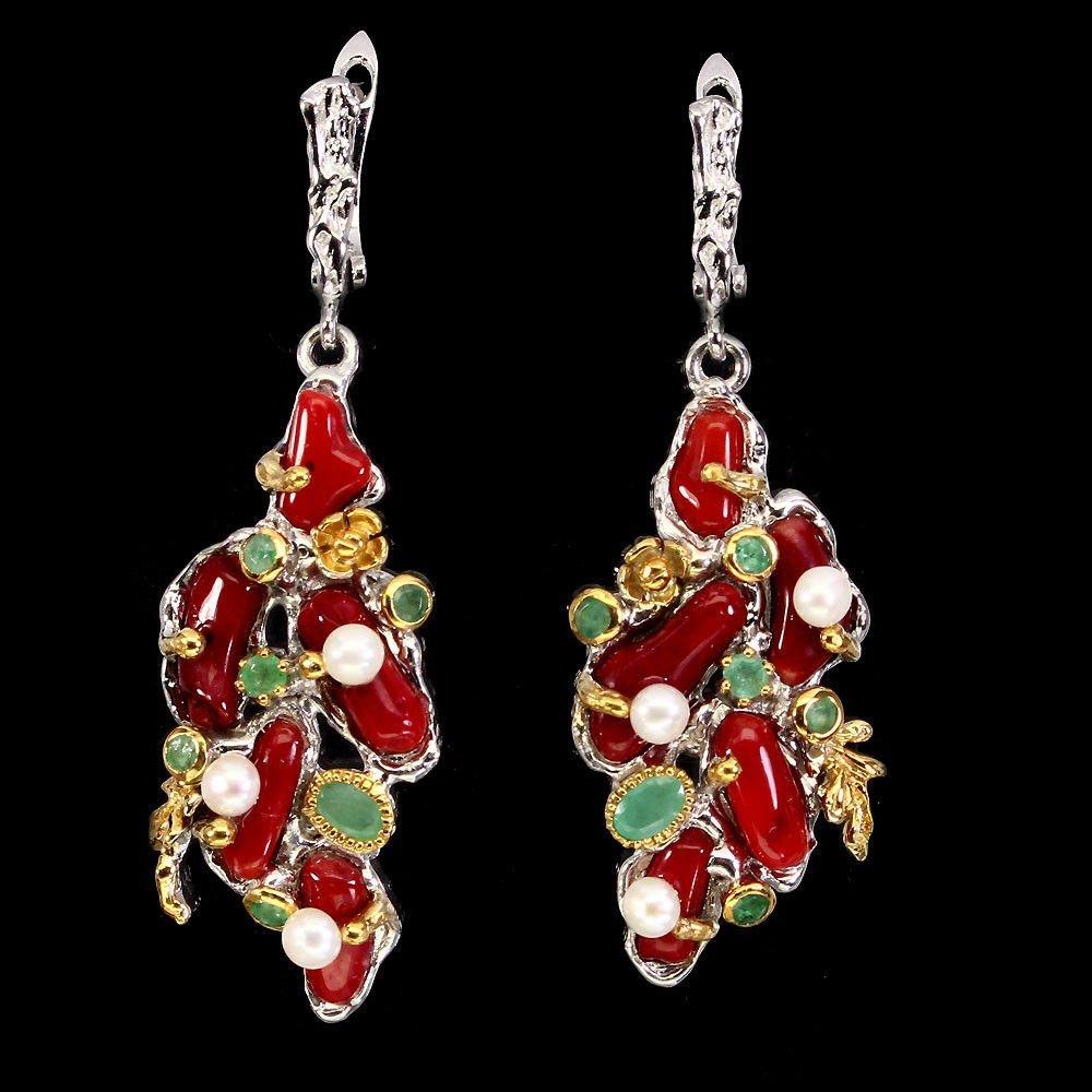 Natural Handmade Red Coral Emerald Pearl Earrings