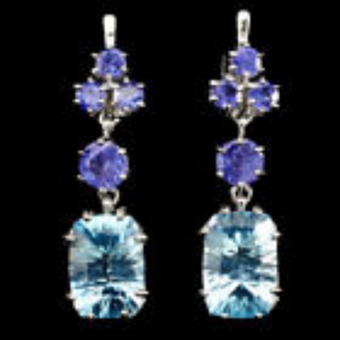 Natural 14x10mm Sky Blue Topaz Tanzanite Earrings