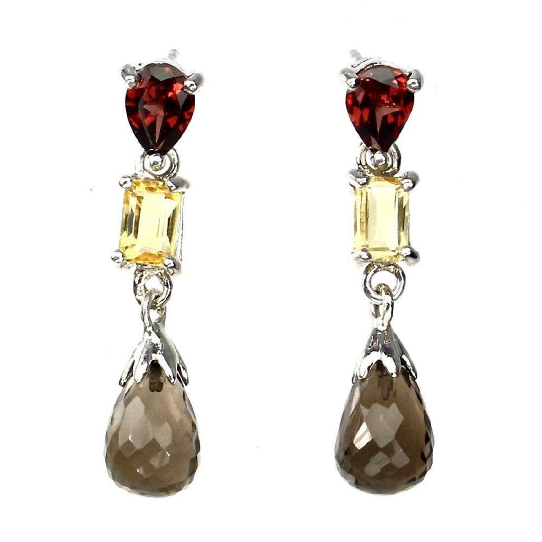 Natural  Briolette Smoky Quartz Citrine Garnet Earrings