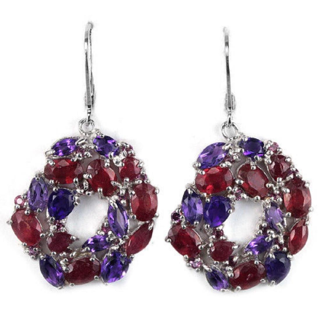 Natural BLOOD RED RUBY & PURPLE AMETHYST Earrings