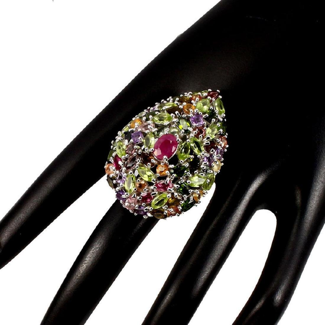 Natural  Ruby Peridot Sapphire Tourmaline Cocktail Ring