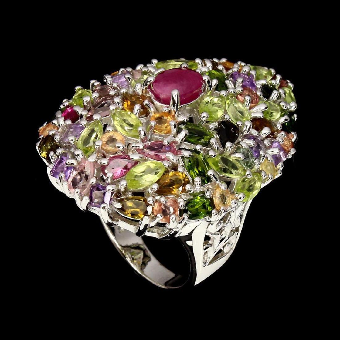Natural  Ruby Peridot Sapphire Tourmaline Cocktail Ring - 2