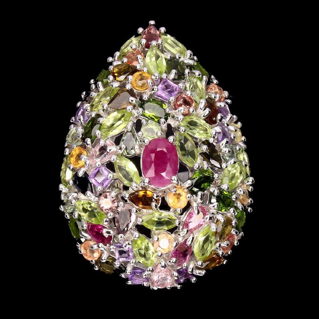 Natural  Ruby Peridot Sapphire Tourmaline Cocktail Ring - 3