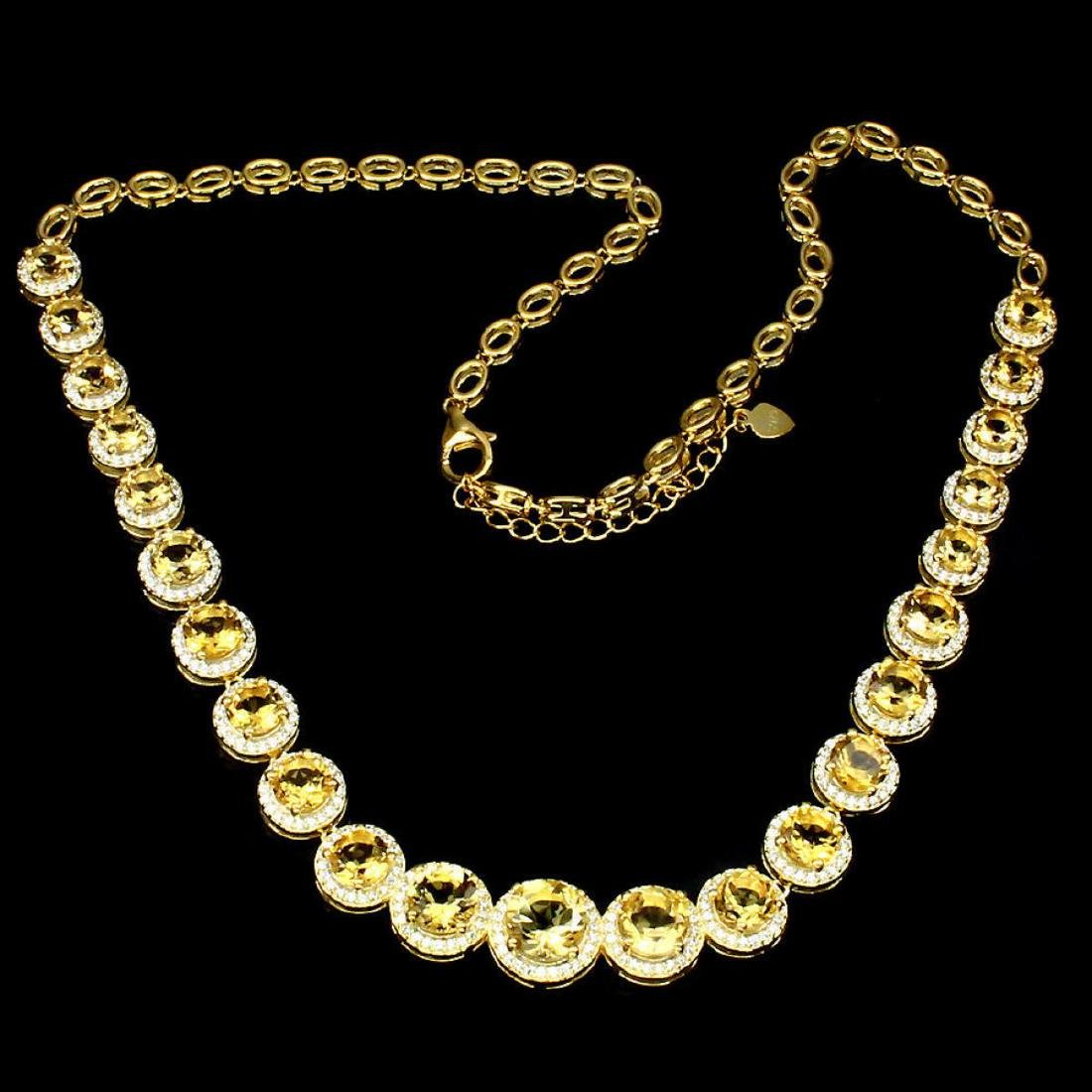 Natural AAA Top Rich Yellow Citrine Necklace - 2
