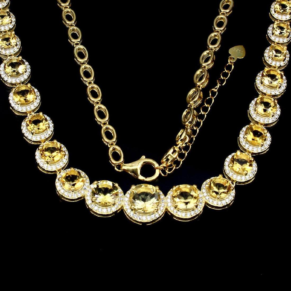 Natural AAA Top Rich Yellow Citrine Necklace - 3