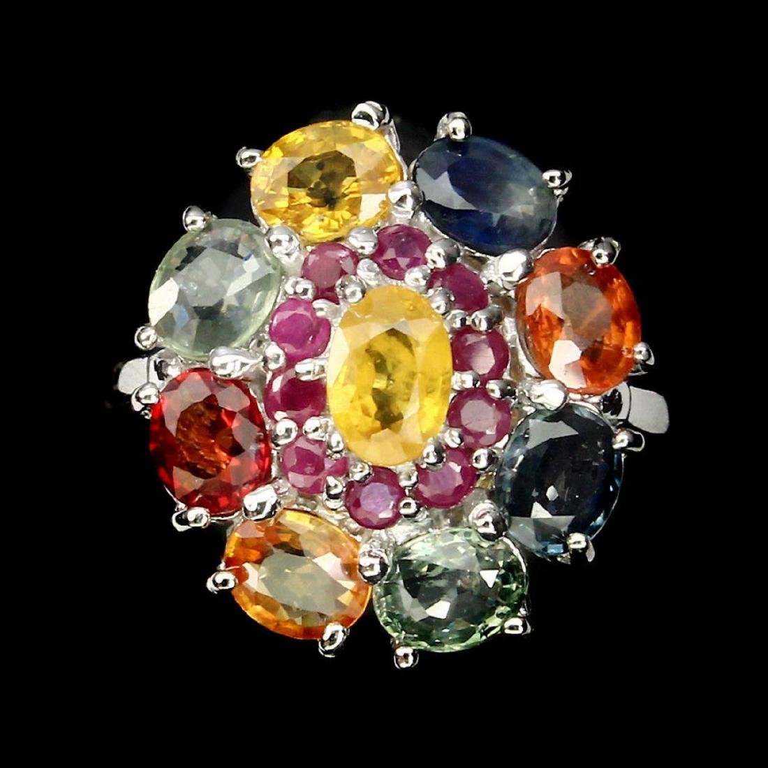 Natural  6x4mm Fancy Color Sapphire & Ruby Ring - 2