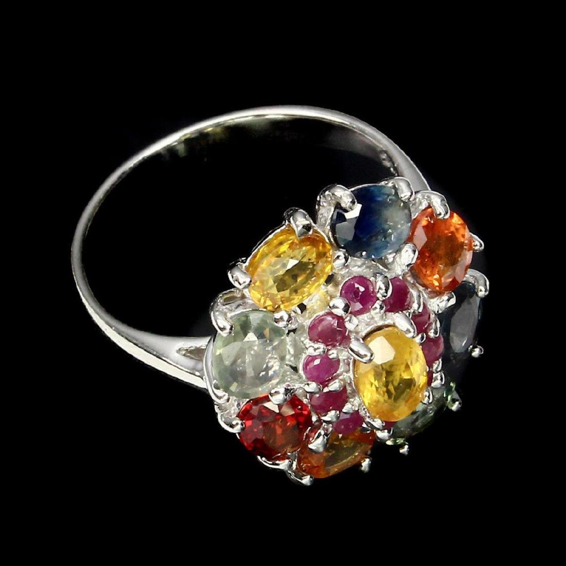 Natural  6x4mm Fancy Color Sapphire & Ruby Ring - 3