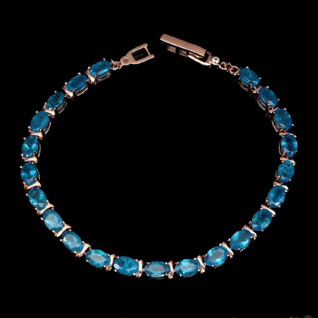Natural Rare Brazil Neon Blue Apatite Bracelet - 2
