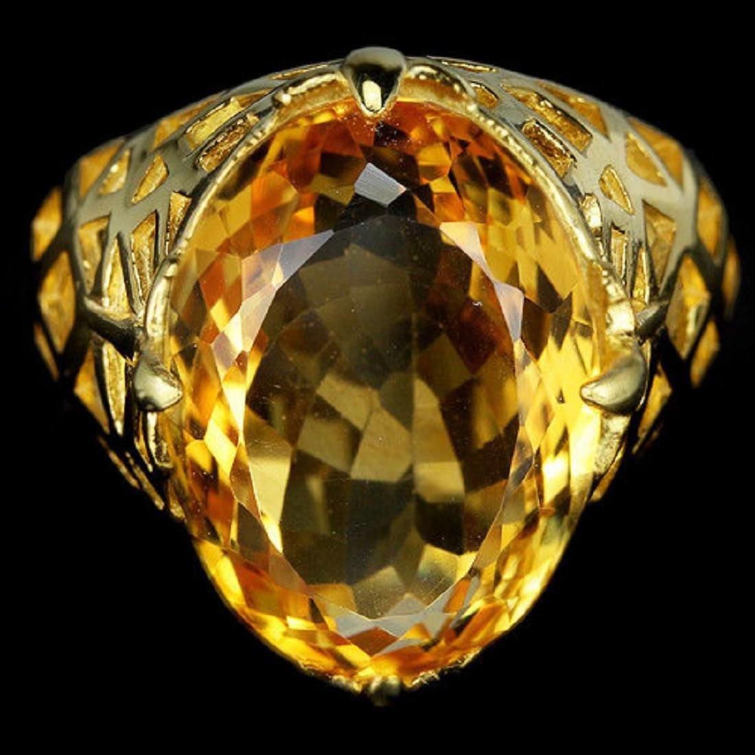 NATURAL 16X12 MM. OVAL ORANGISH YELLOW CITRINE Ring - 2