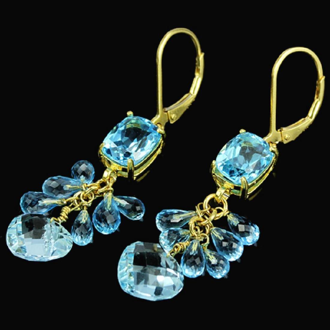 Natural GENUINE AAA SWISS BLUE TOPAZ BRIOLET Earrings - 2