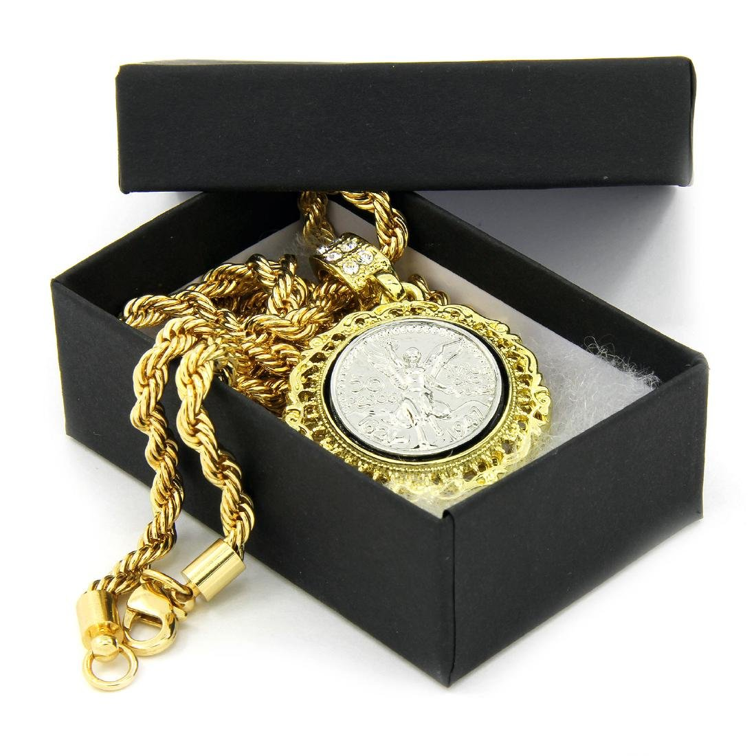 Mens 14K Gold Plated 50 Cent Peso Pendant. - 3
