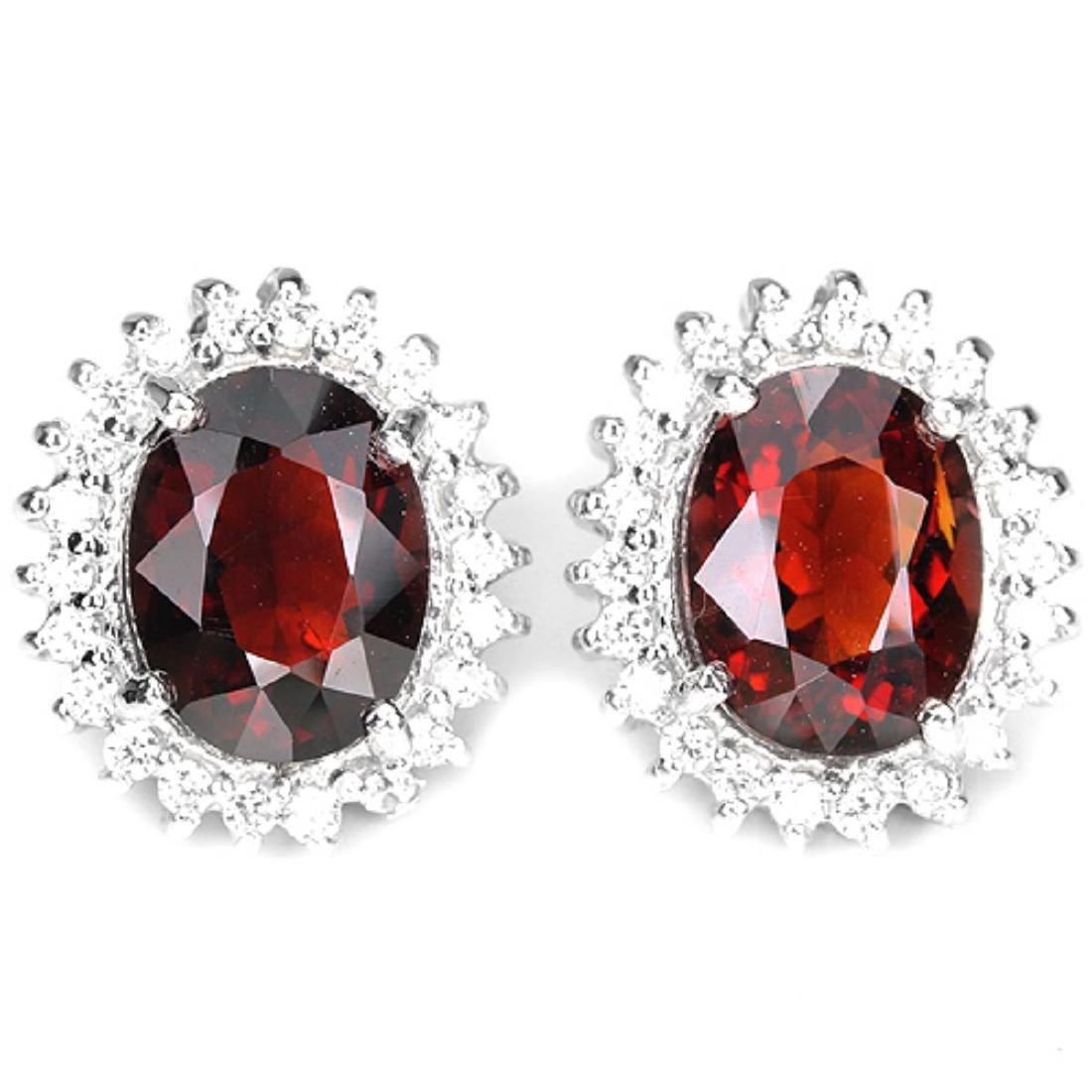 Natural Rhodolite Garnet & CZ Earrings