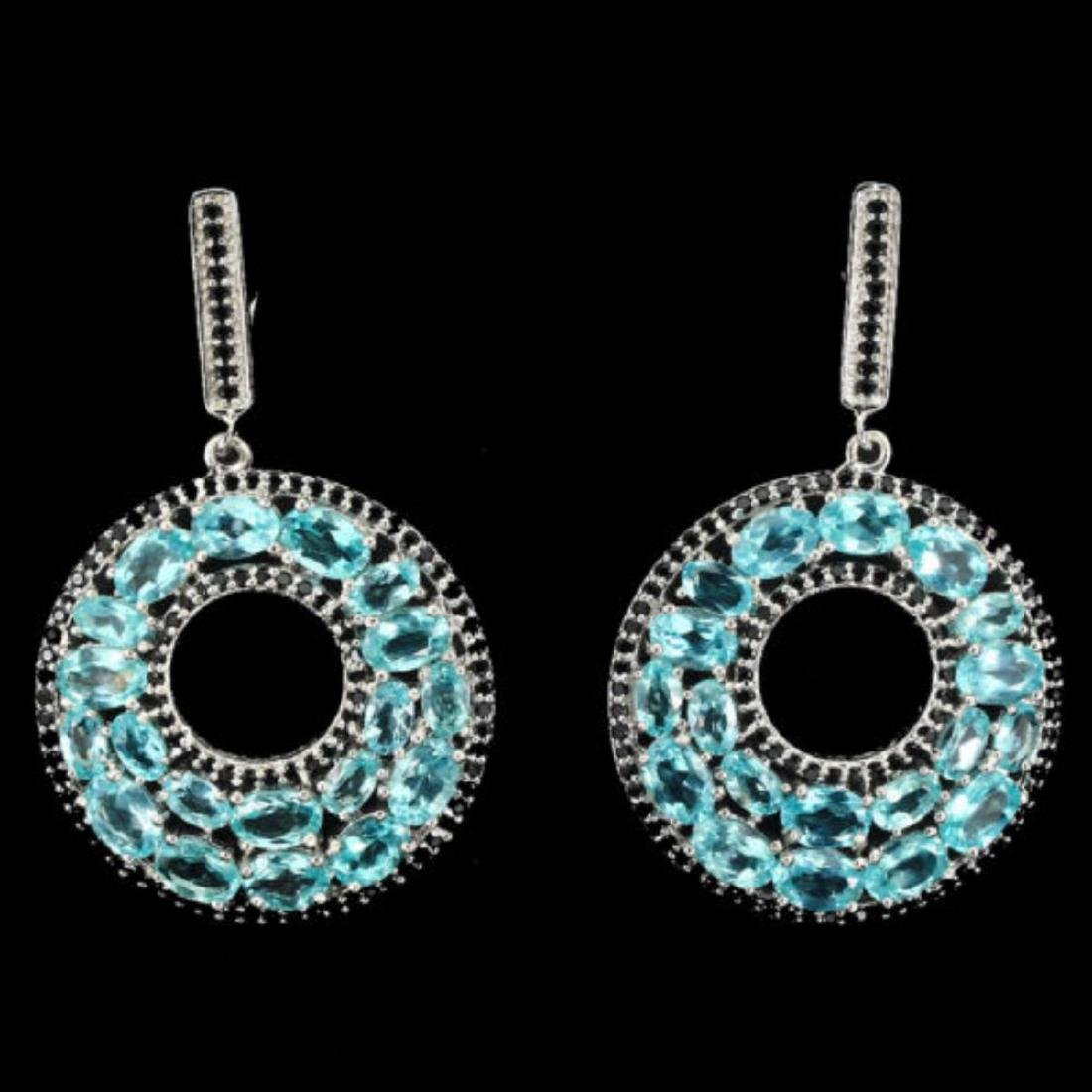 Natural Neon Blue Apatite Black Spinel Earrings