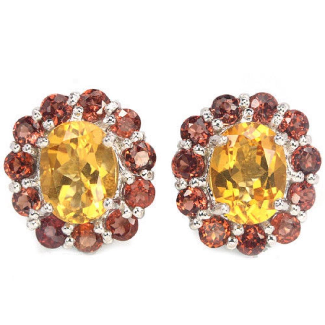 Natural CITRINE & DARK ORANGE RED GARNET Earring