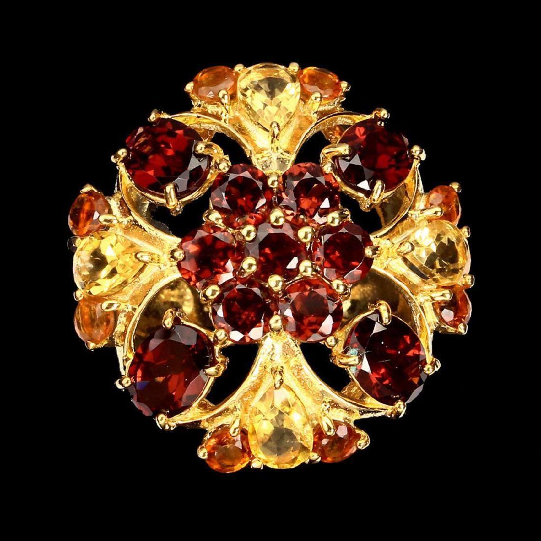 Natural Rich Orange Mozambique Garnet Citrine Ring