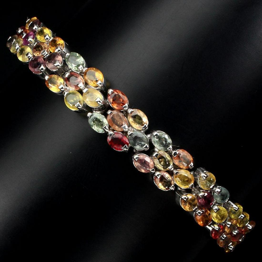 Natural Multi-color Fancy Sapphire Bracelet