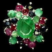 PRETTY CERTIFIED EMERALD RUBY SAPPHIRE RING