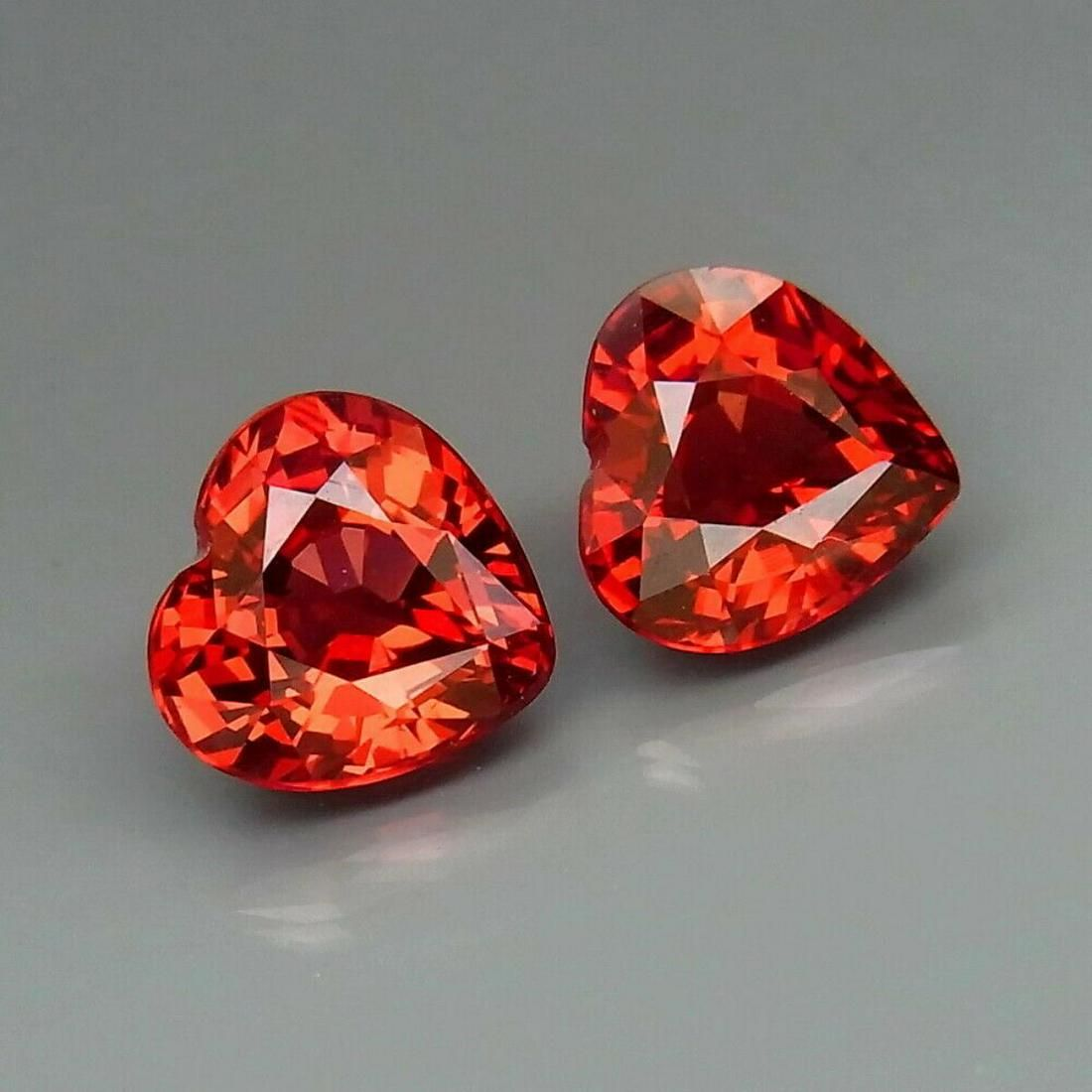 Natural Cherry Red Rhodolite Garnet Heart Pair 3.11 Ct.